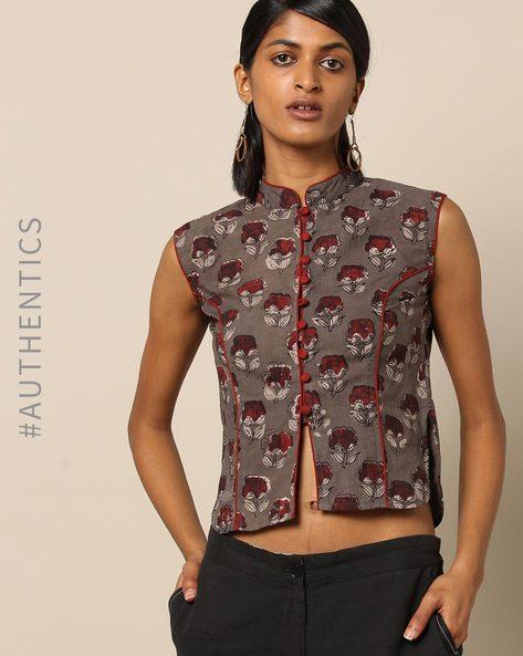 Handblock Print Cotton Sleeveless Mandarin Collar Long Blouse By Molcha ( Multi )