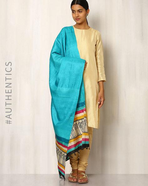 Handwoven Pure Kosa Silk Warli Print Dupatta By Indie Picks ( Blue )
