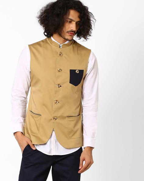 Cotton Slim Nehru Jacket By MR.BUTTON ( Beige )