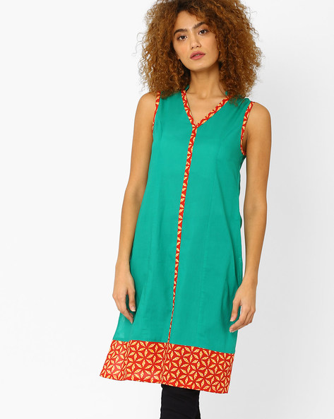 Sleeveless Tunic With Printed Panels By AJIO ( Green )