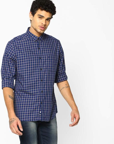 Checked Slim Fit Cotton Shirt By NETPLAY ( Khaki )