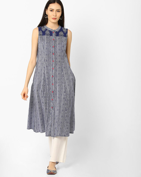 Slim Fit Printed Kurta By AJIO ( Indigo )
