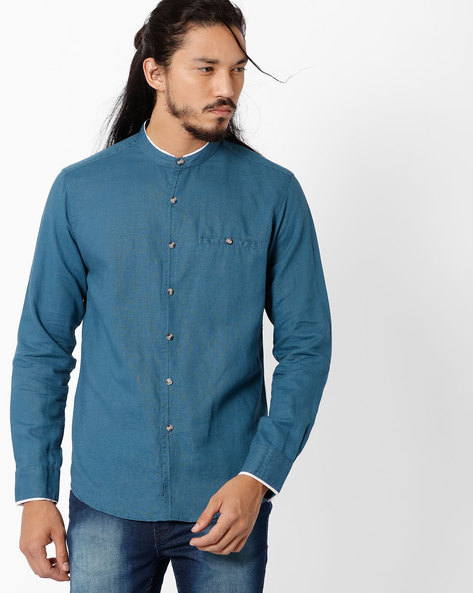 Regular Fit Shirt With Band Collar By NETPLAY ( Blue )