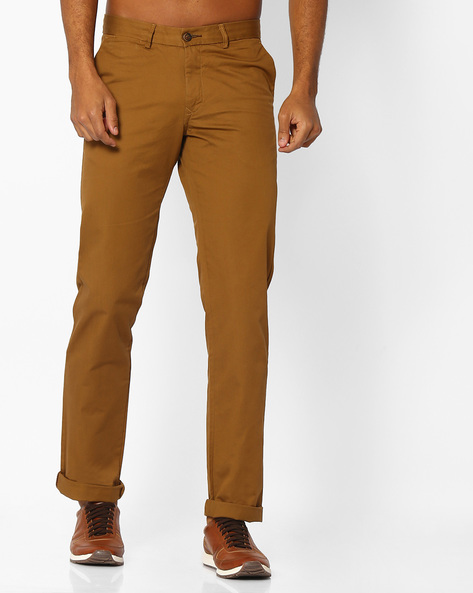 Slim Fit Cotton Trousers By BASICS ( Khaki ) - 460033742002