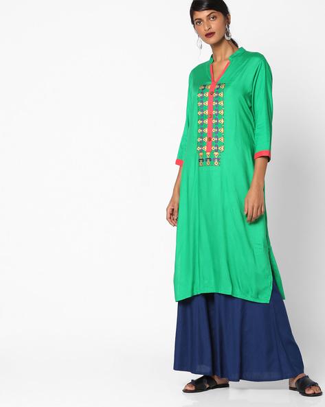 Embroidered Straight Kurta With Mandarin Collar By Shakumbhari ( Green )