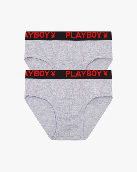 Pack Of 2 Cotton Duet Briefs By Playboy ( Greymelange )