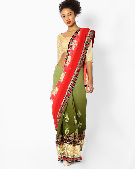 Colourblock Saree With Embroidery By Majestic Silk ( Green )