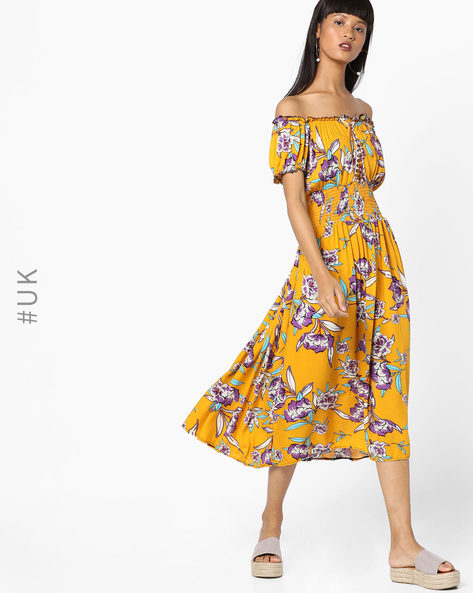 Floral Print Off-Shoulder Dress By OEUVRE ( Yellow )