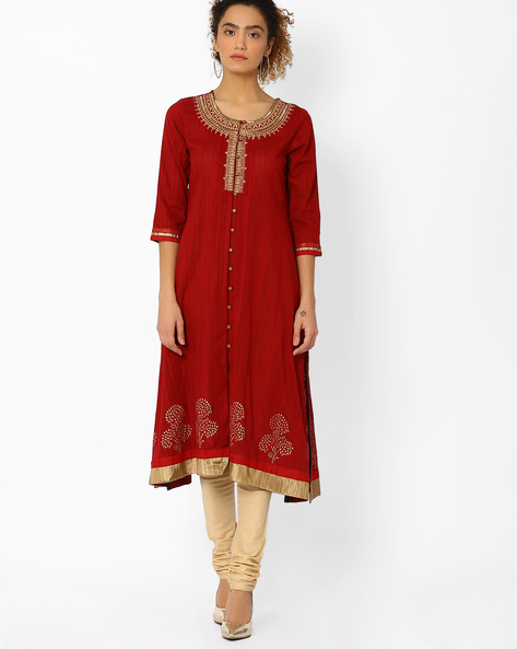 Flared Kurta With Embroidery By Rangriti ( Red )