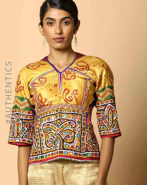 Kutch Embroidered Backless Blouse By Indie Picks ( Multi ) - 460103659001