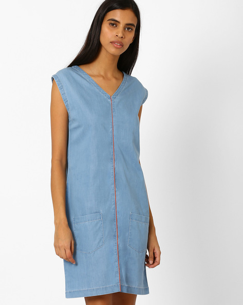 Denim Dress With Patch Pockets By AJIO ( Lightblue )