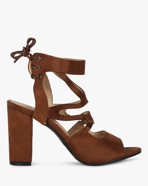 Ankle-Wrap Chunky Heels With Tie-Ups By MFT Couture ( Brown )