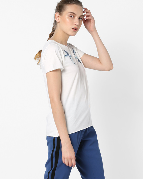 Printed Crew-Neck T-shirt By Pepe Jeans ( Offwhite )