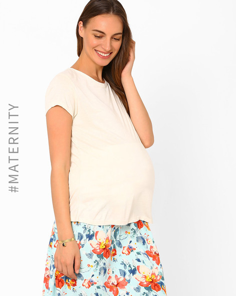 Maternity Top By AJIO ( Beige )