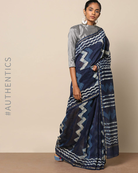 Handblock Indigo Print Chanderi Saree With Zari By Indie Picks ( Indigo ) - 460146827001