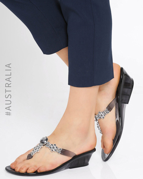 Embellished Jelly Bloom Wedge Sandals By Holster ( Cleargraphite )