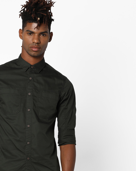 Classic Shirt With Patch Pockets By AJIO ( Olive )