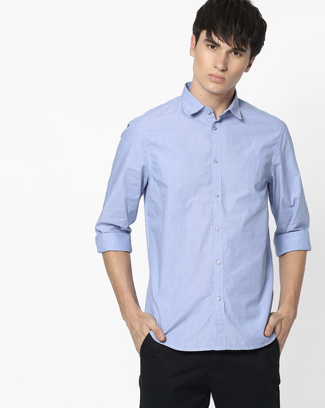 Cotton Shirt With Spread Collar By Celio ( Blue )