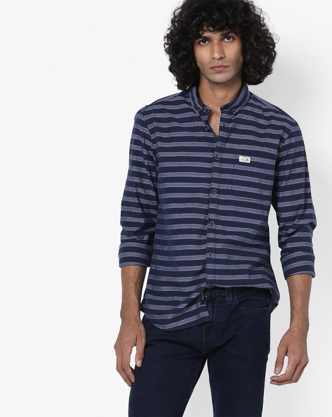 Striped Shirt With Button-Down Collar By U.S. Polo Assn. ( Navy )