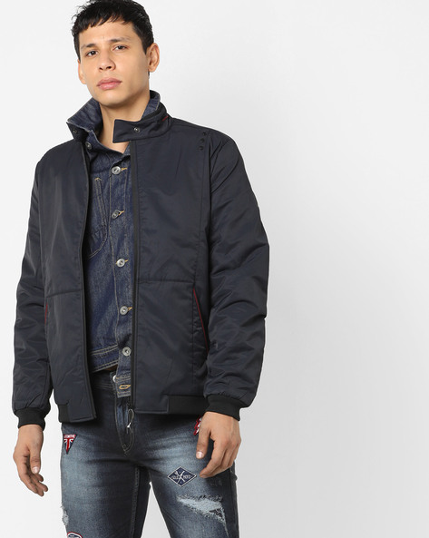 Panelled Jacket With Band Collar By Fort Collins ( Navy )