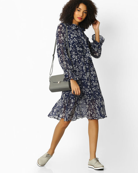 Fit & Flare Dress With Neck Tie-Up By Rena Love ( Navyblue )