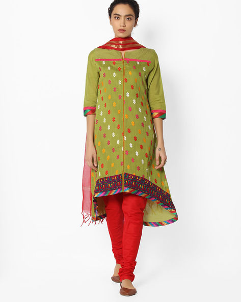 A-line Churidar Kurta With Dupatta By AVAASA SET ( Green )