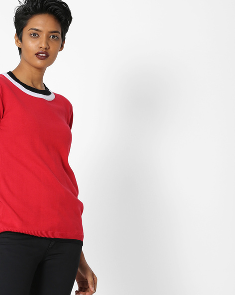 Crew-Neck Pullover With Ribbed Hems By Teamspirit ( Red )