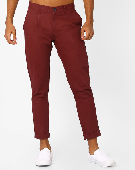 Tapered Fit Cropped Trousers By ANTIFERRO ( Burgundy )