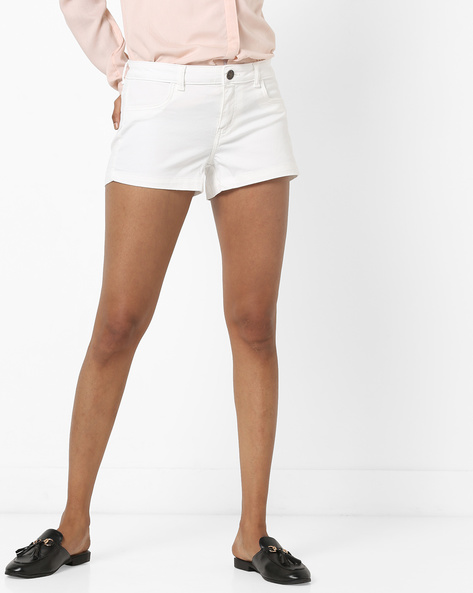 Mid-Rise Denim Shorts With Pockets By Ginger By Lifestyle ( Offwhite )
