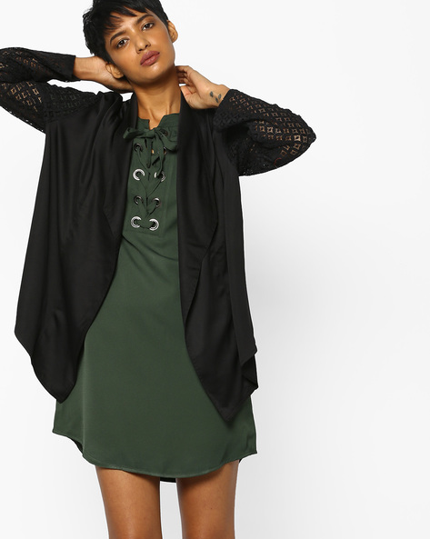 Open-Front Shrug With Lace Sleeves By PE WW Evening ( Black )