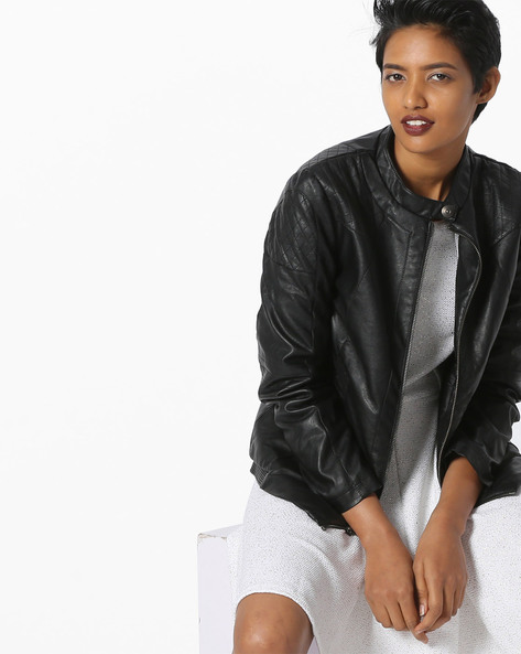 Panelled Jacket With Front Zipper By Fort Collins ( Black )