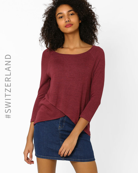 Knitted T-shirt With Raglan Sleeves By TALLY WEiJL ( Wine )