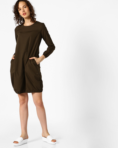 Cocoon Dress With Insert Pockets By AJIO ( Olive )