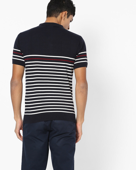 Flat-Knit Striped Polo T-shirt By NETPLAY ( Navy )