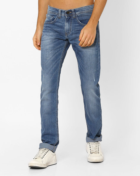 Lightly Washed Slim Jeans By Celio ( Blue )