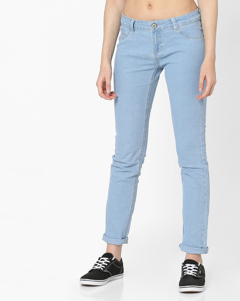 Mid-Rise Jeans With 5-Pockets By Pink Woman ( Blue )