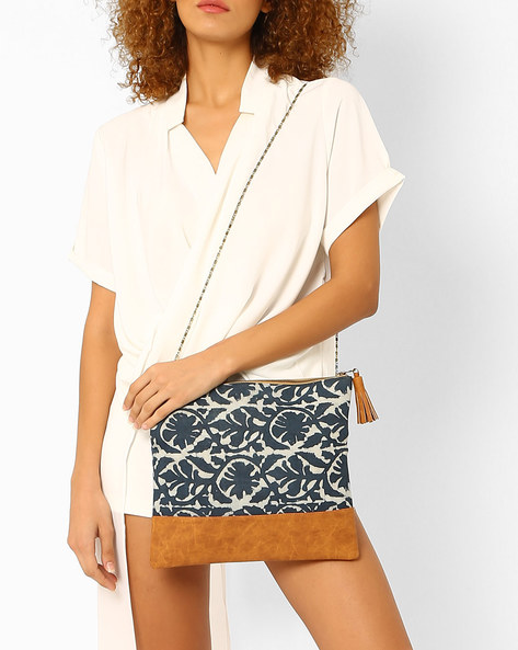 Foldover Clutch With Chain Strap By Tarusa ( Indigo )
