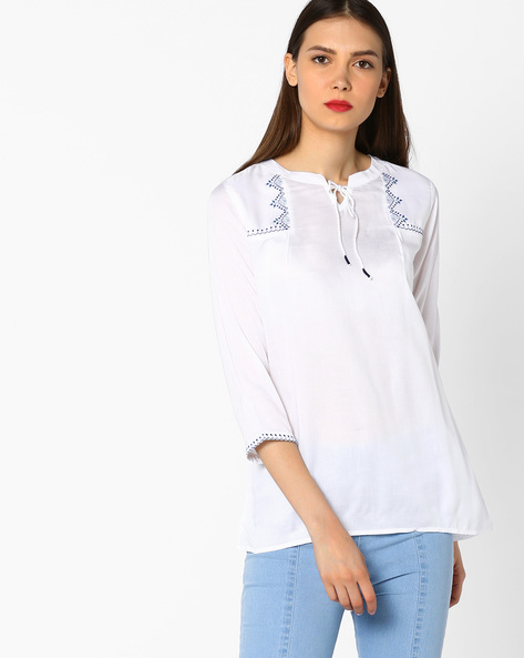 Embroidered Top With Mandarin Collar By And ( White )