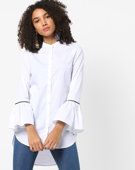 High-Low Shirt With Bell Sleeves By Vero Moda ( White )