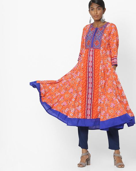 Printed Kurta With Embroidered Yoke By Melange By Lifestyle ( Coral )