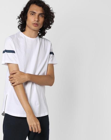 Crew-Neck T-shirt With Side Zip By AJIO ( White )