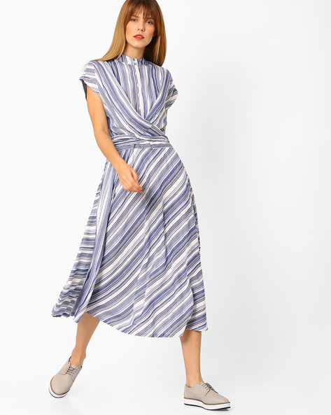 Striped Fit & Flare Dress By Vajor ( Blue )