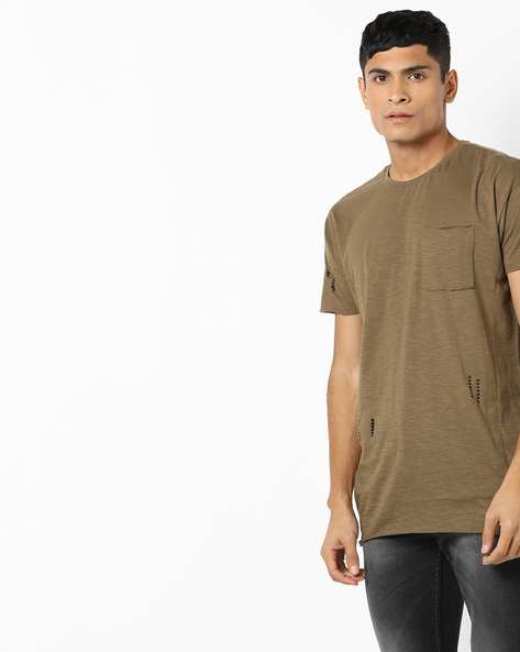 Longline Crew-Neck T-shirt With Cut-Outs By AJIO ( Olive )