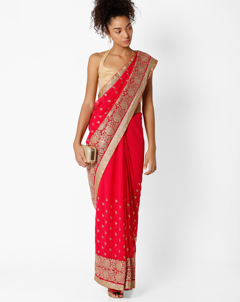 Floral Embroidered Saree By Amori ( Pink )