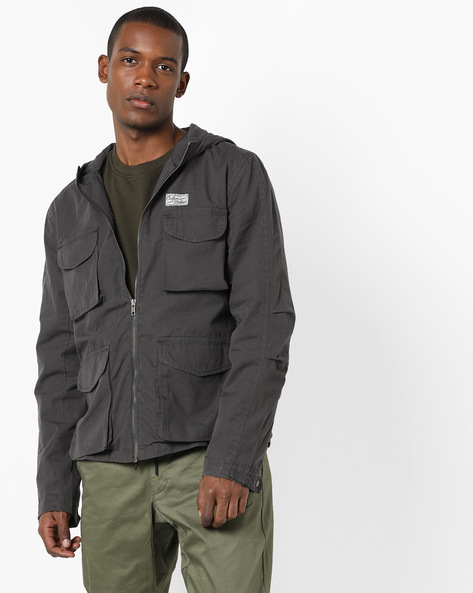 Zip-Front Jacket With Multiple Pockets By AJIO ( Charcoal )