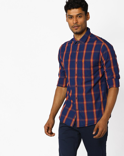 Checked Slim Fit Shirt By The Indian Garage Co ( Yellow )