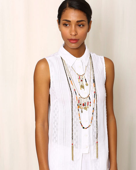 Layered Beaded Tribal Necklace By Indie Picks ( Multi )