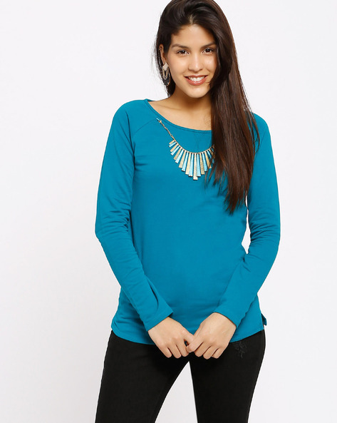 Top With Fringe Neckpiece By SF Jeans By Pantaloons ( Turquoise )