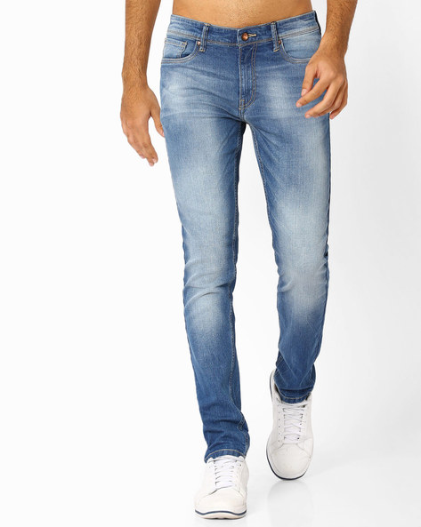 Slim Fit Jeans With Whiskers By AJIO ( Ltblue )