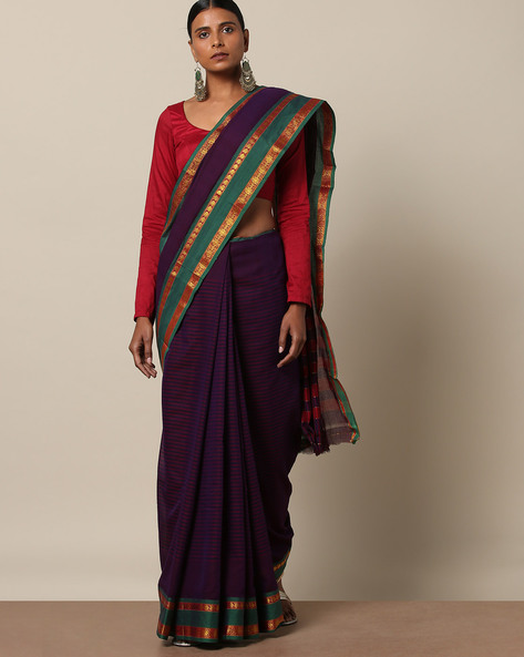 Cotton Stripe Saree With Contrast  Border By Indie Picks ( Purple )